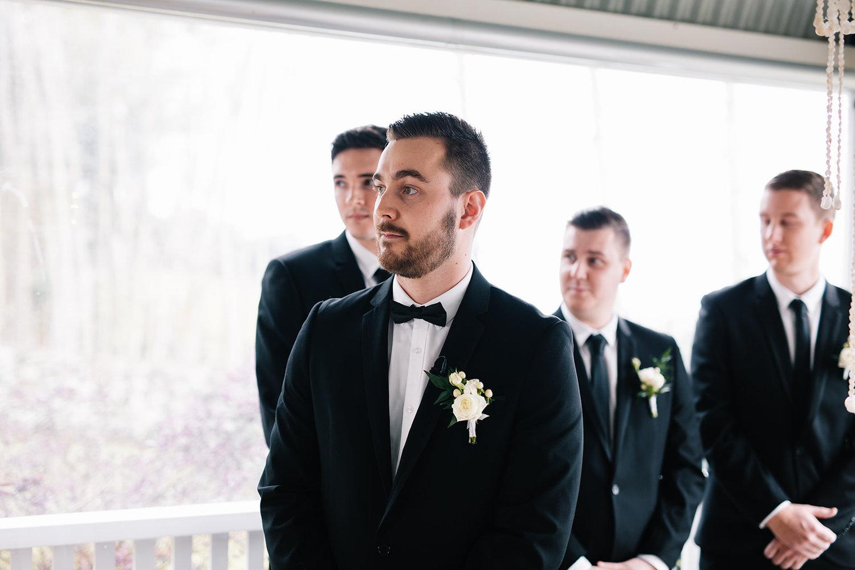Groom looking at bride / Micro Wedding / Elope