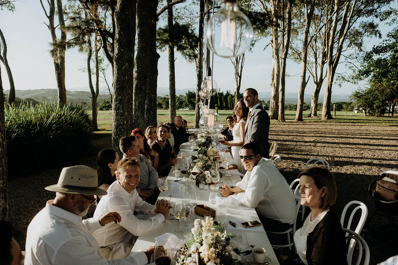 Wedding reception in Byron hinterlands