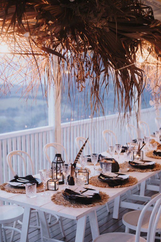Wedding reception table decorations in Byron Bay