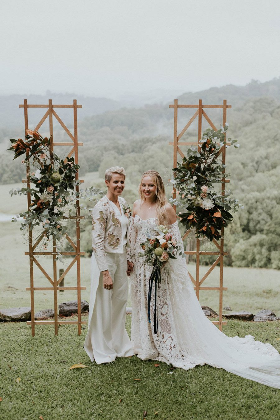 Two ladies at alter / Byron Bay wedding / Earth House