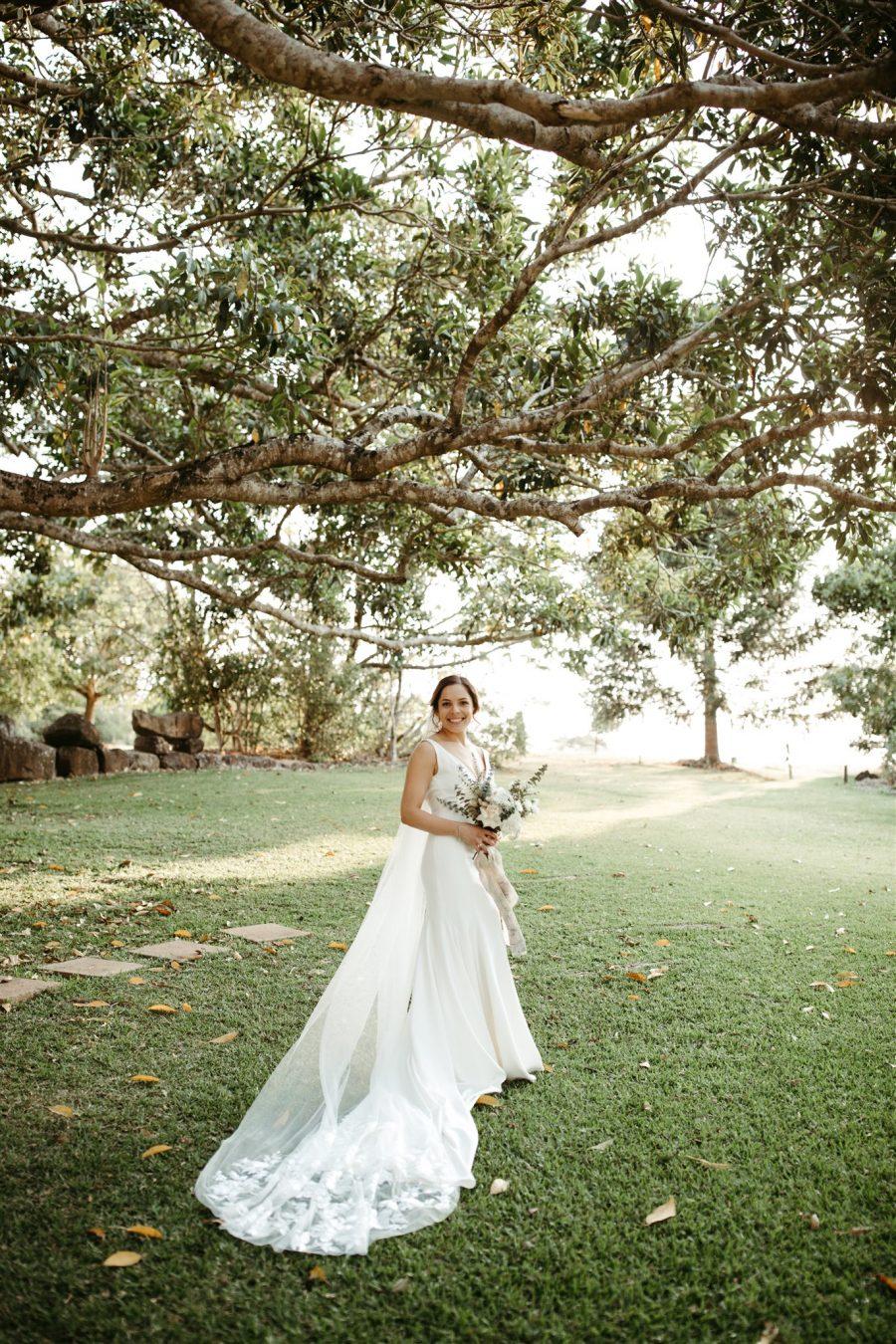Bride smiling in Byron hinterland