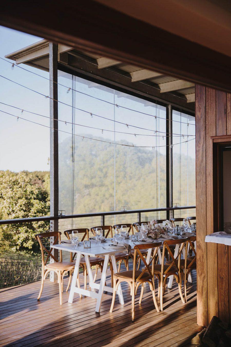 Reception table decorations in Byron Bay Temple Farmhouse / Micro Wedding