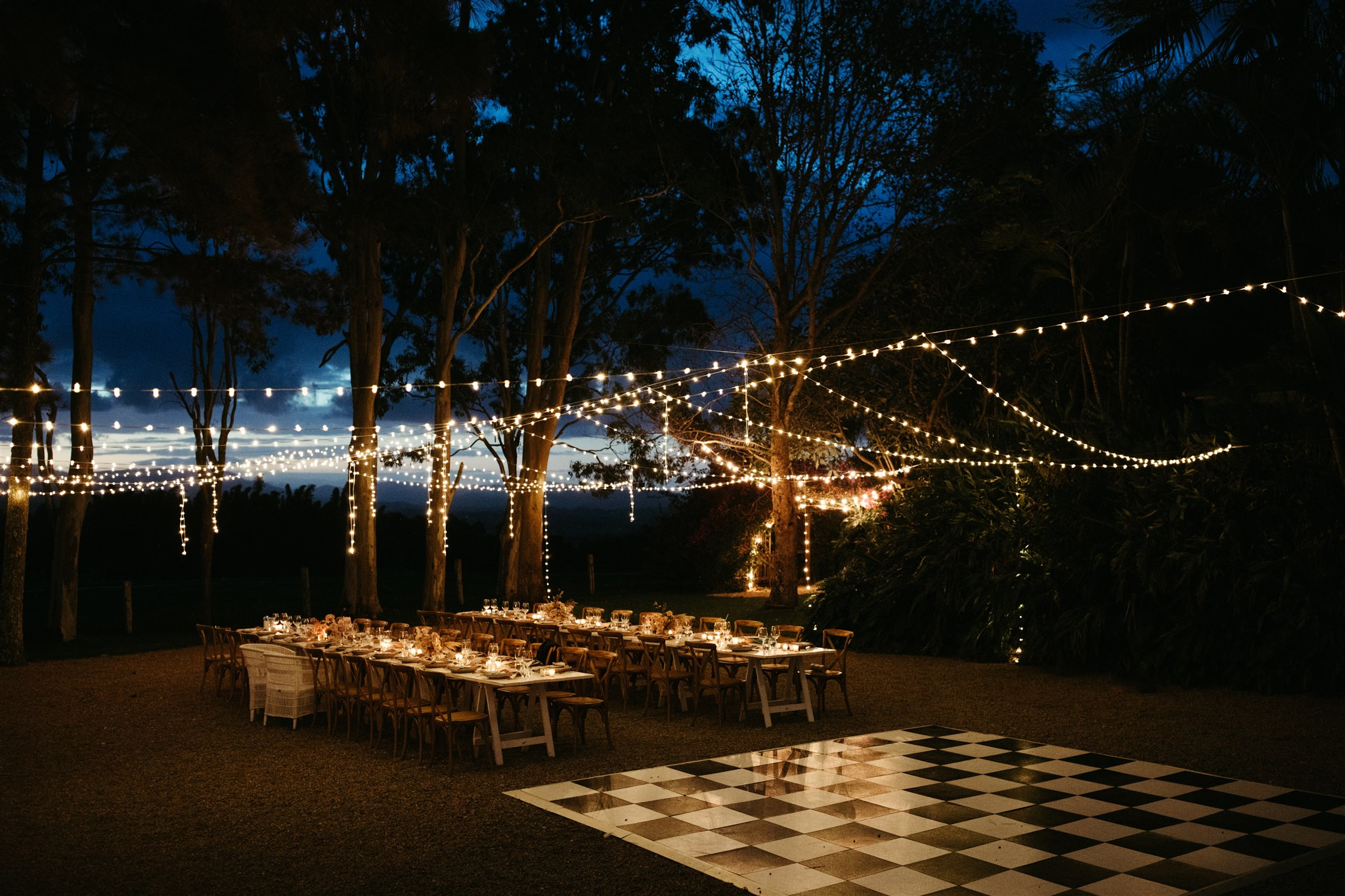 Reception table set up with fairy lights in Byron Bay