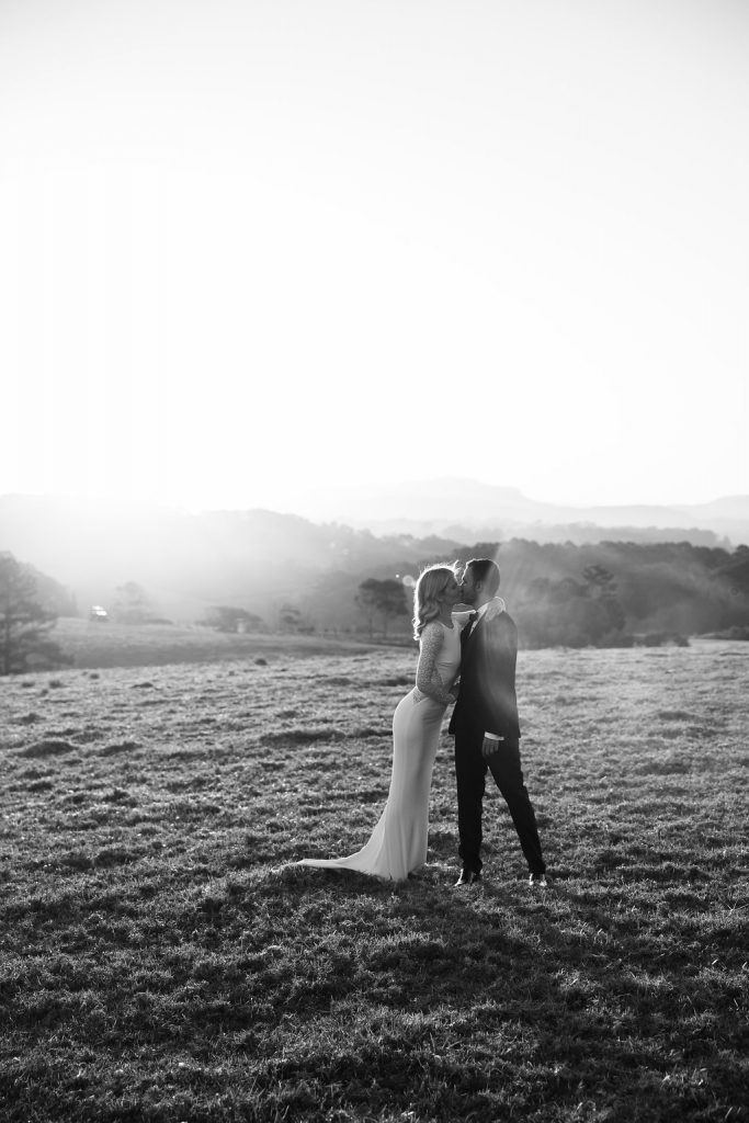 bride and groom in hinterland / wedding photography