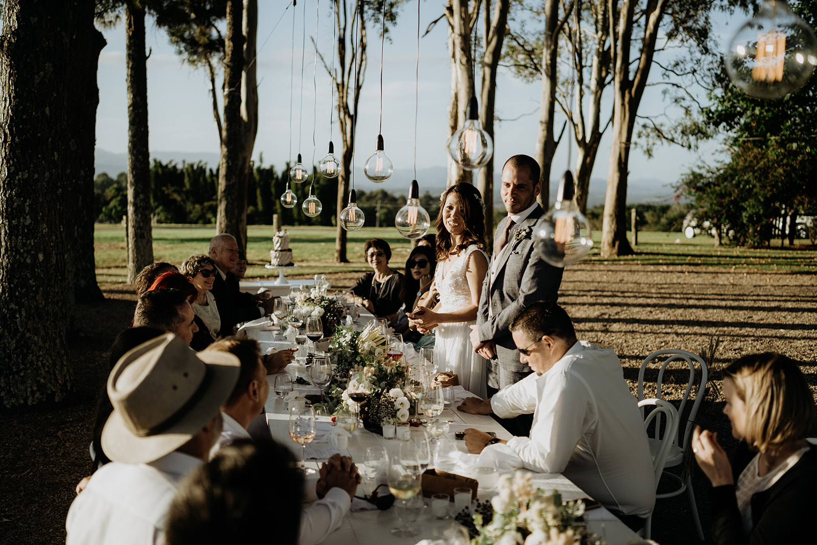 Wedding reception table with guests / photography