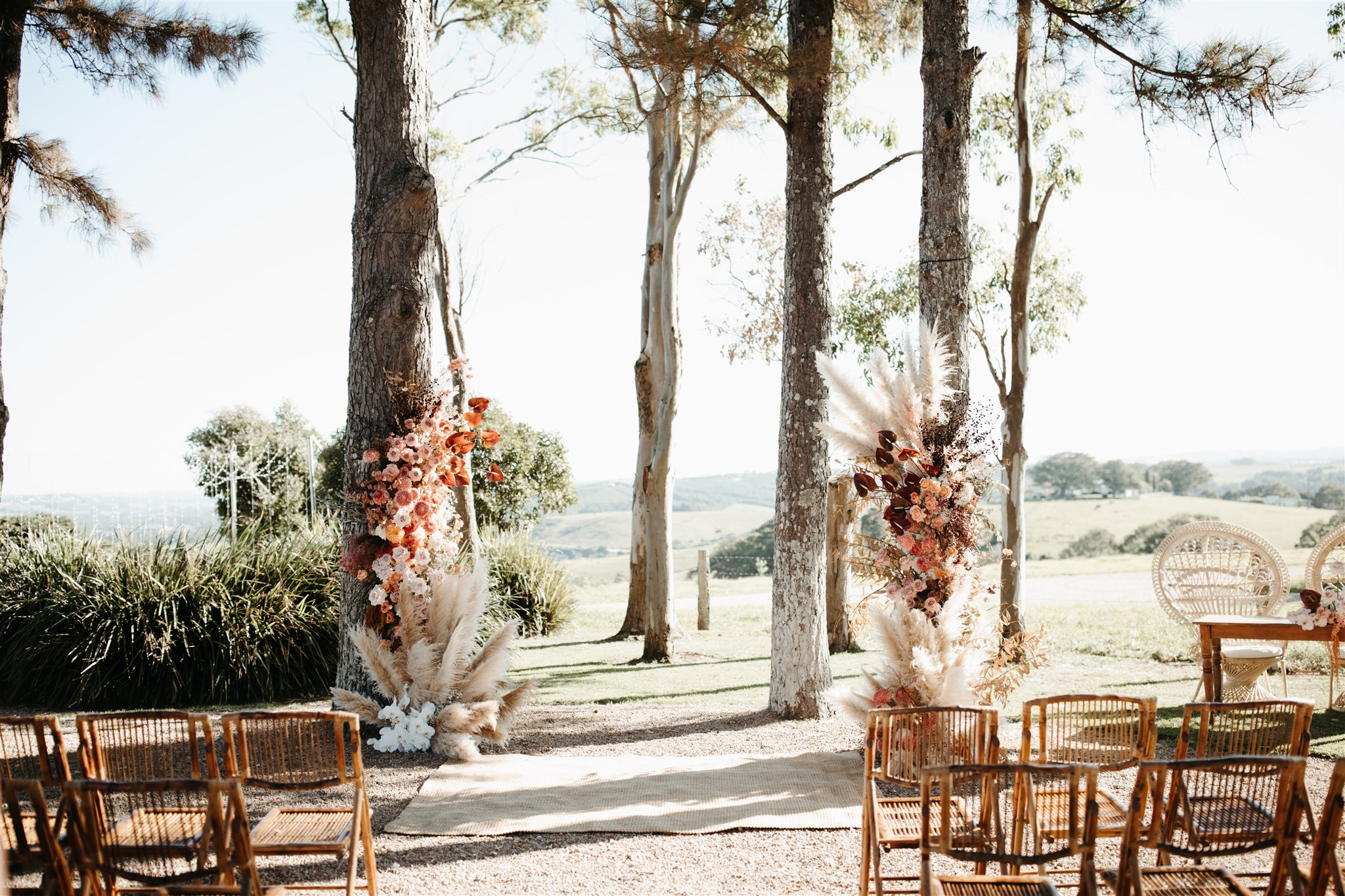 Wedding set up with flower alter / Byron Bay