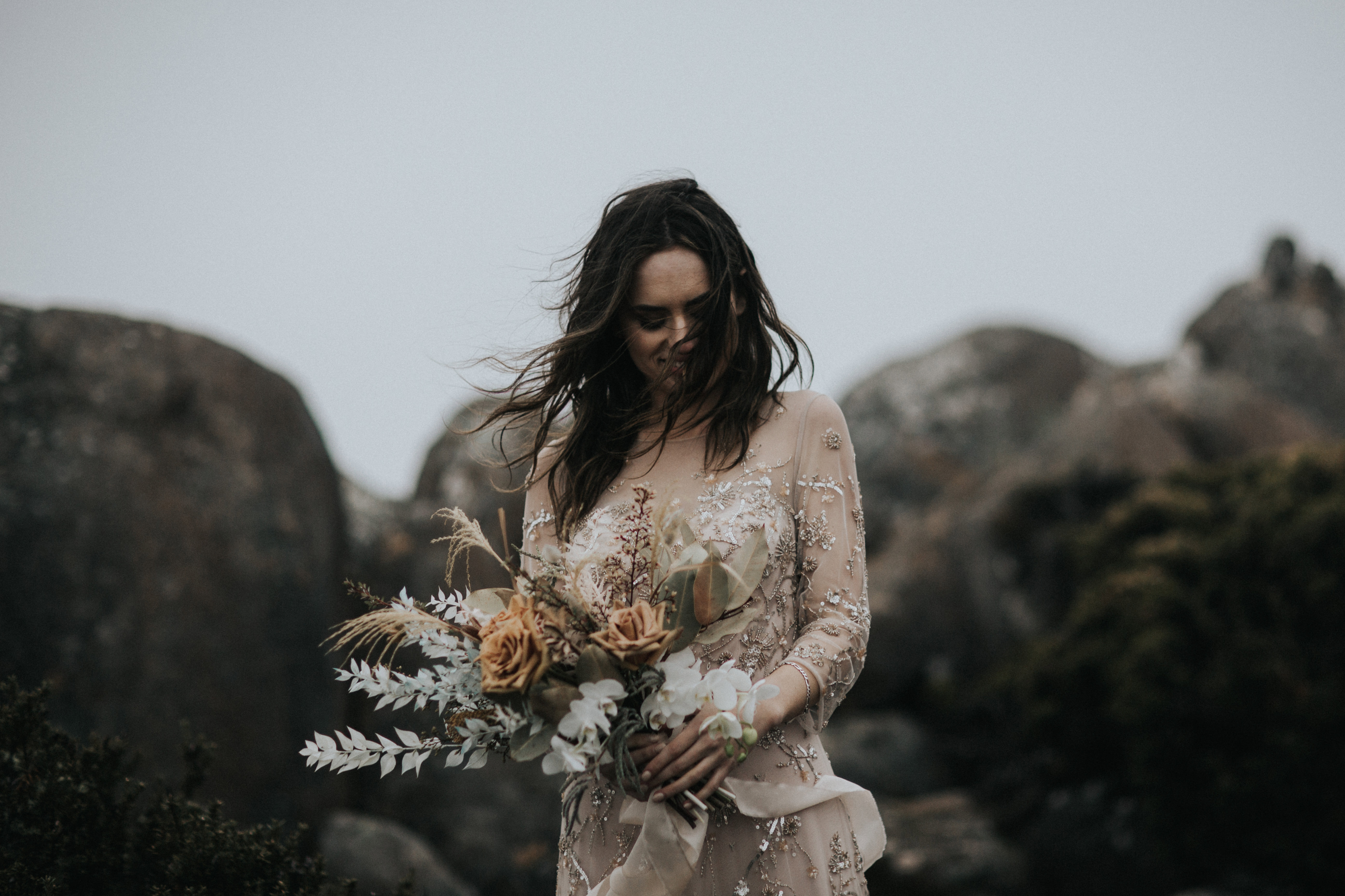 Bride with bouquet - Elopement photography Tasmania