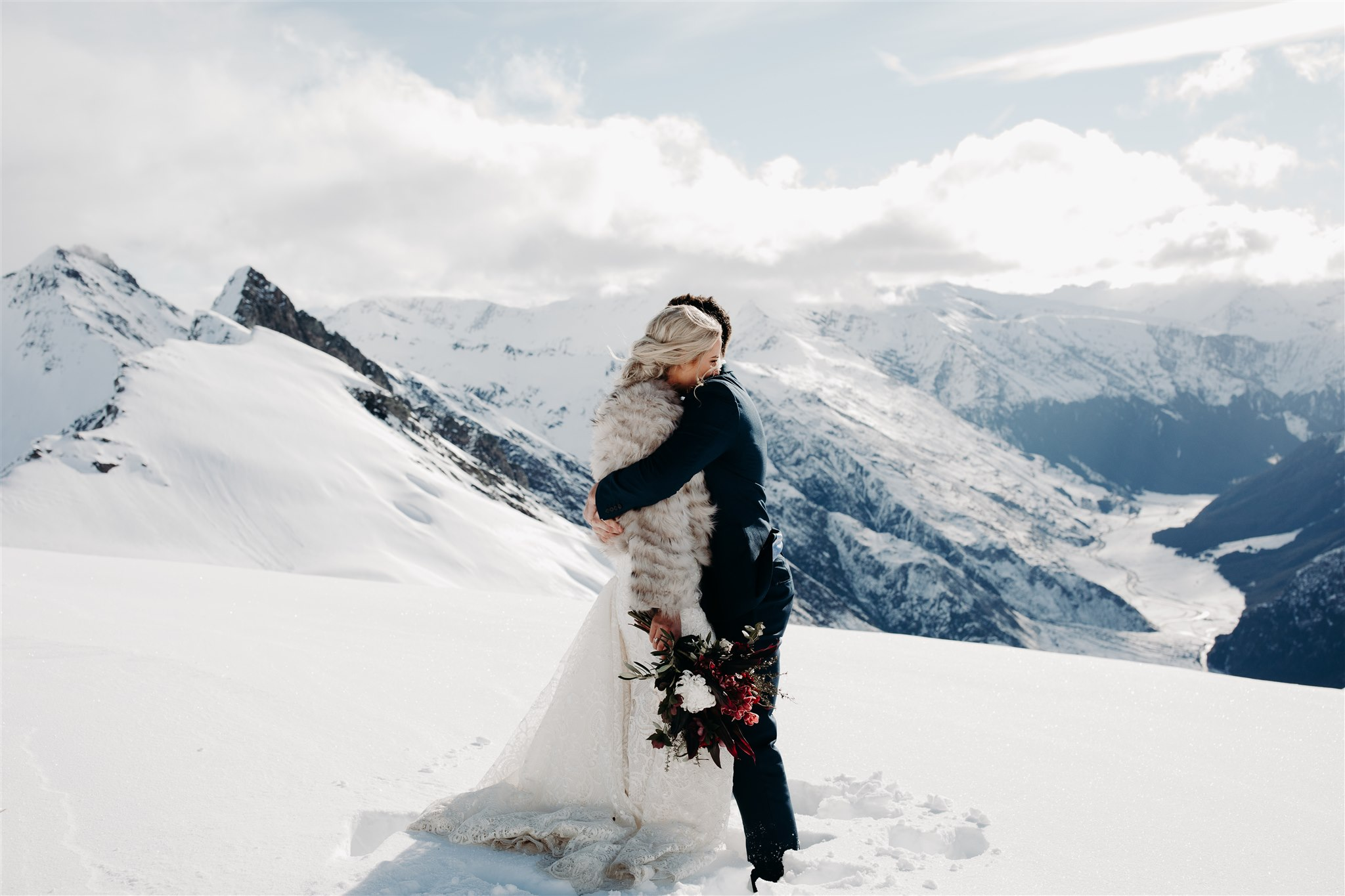 Bride and groom in snow - New Zealand Micro Wedding