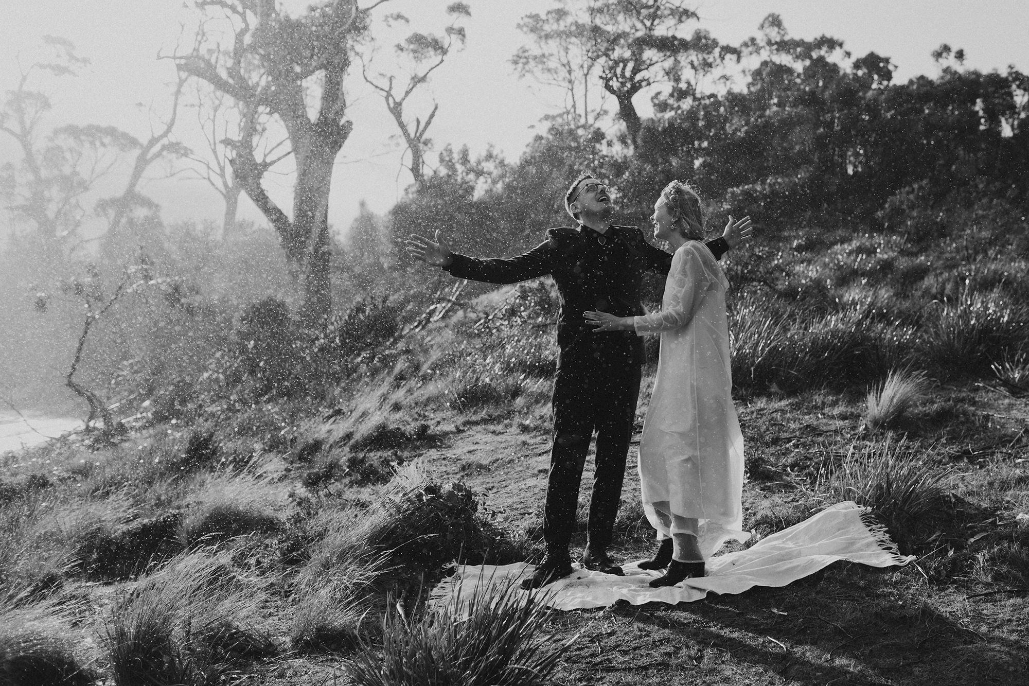 Bride and groom smiling / Elope in Tasmania / Elopement photography