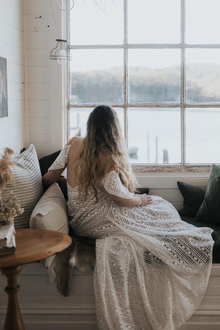 Bride in rustic house - Captains Rest Tasmania / Elopement photography