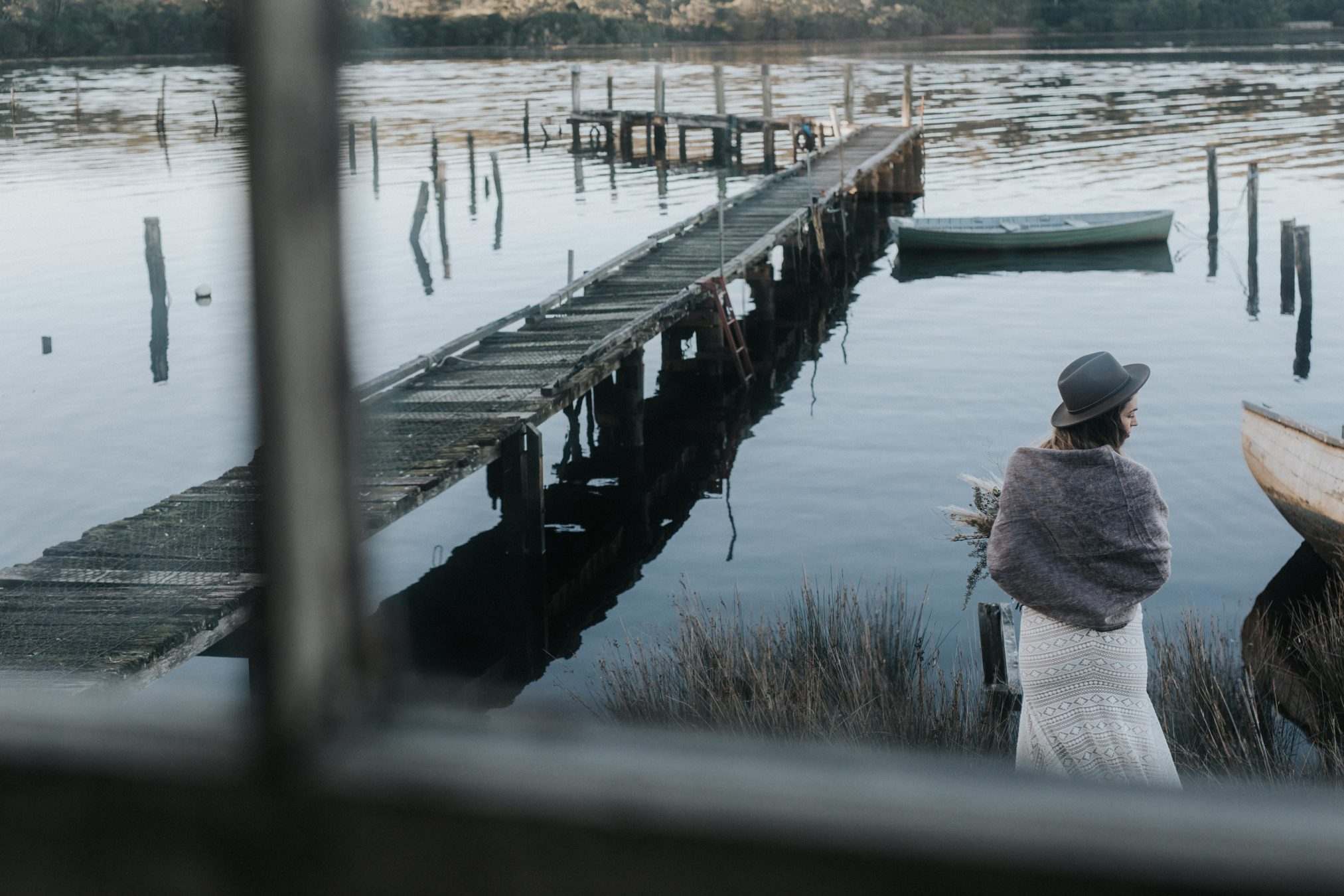 Bride standing by water - Captains Rest Tasmania