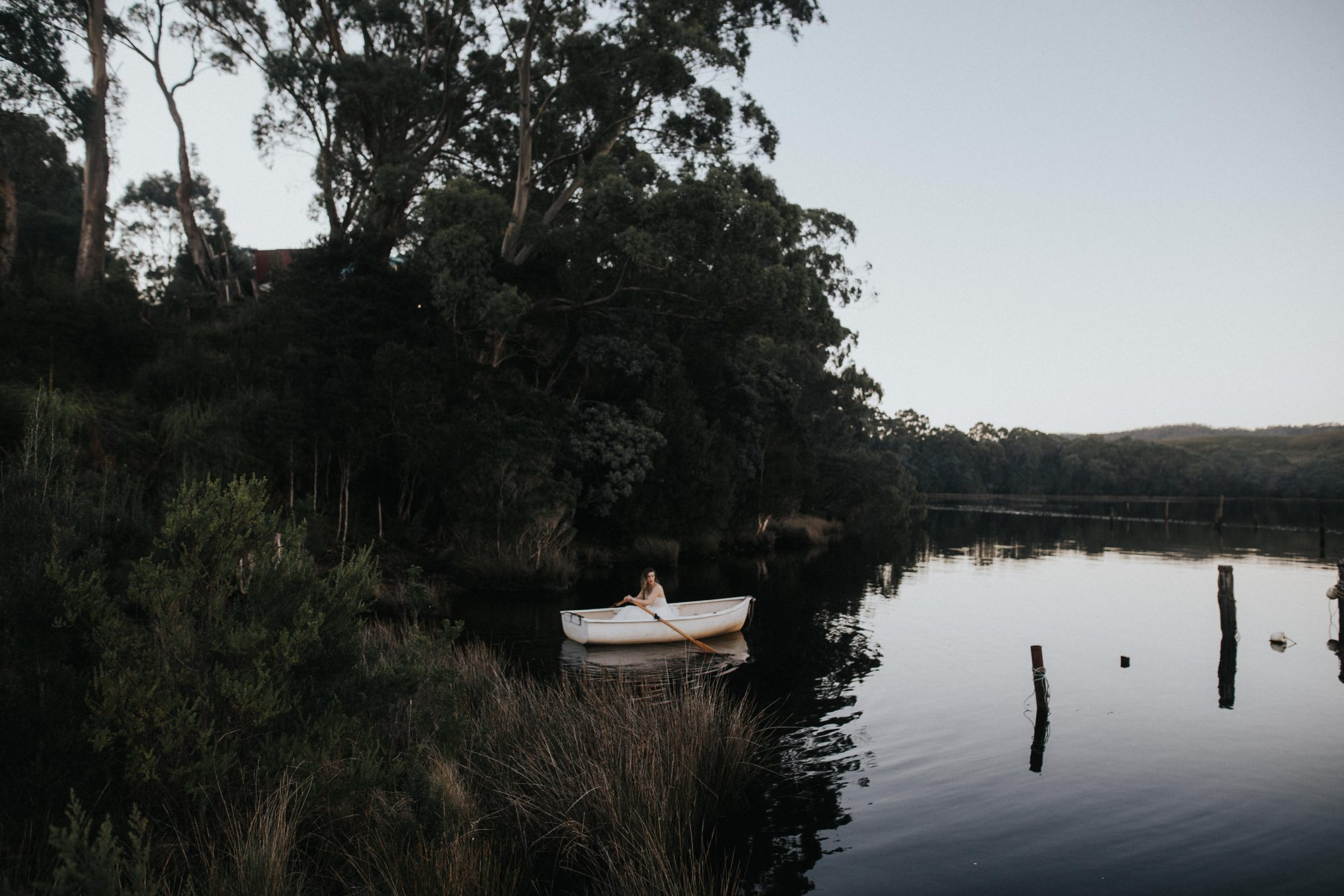 Bride in boat at Captains Rest / Elopement photography