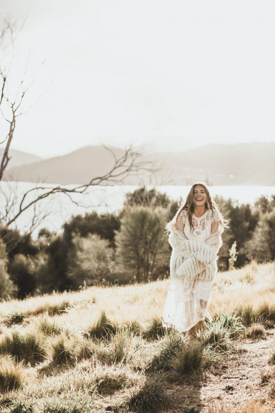 Bride smiling on Tasmania Hilltop