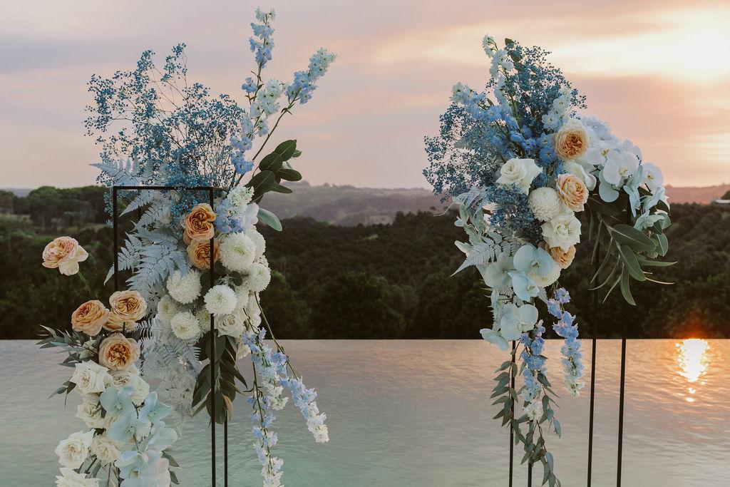 Flower arrangement at sunset / Byron Bath House Wedding