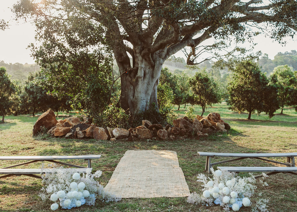 Isle and alter for wedding in Byron