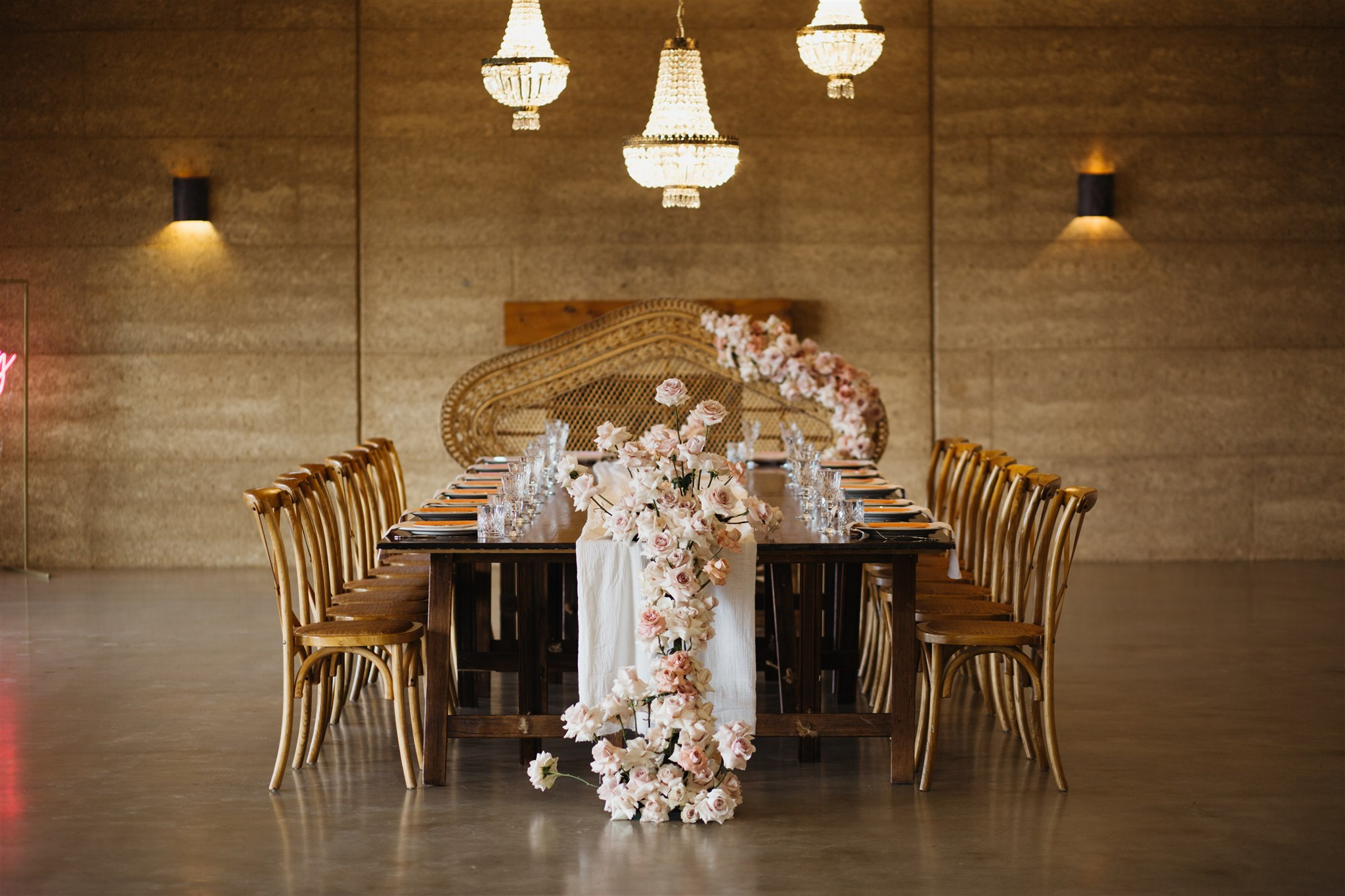 Reception table set up with flowers in Byron Bay