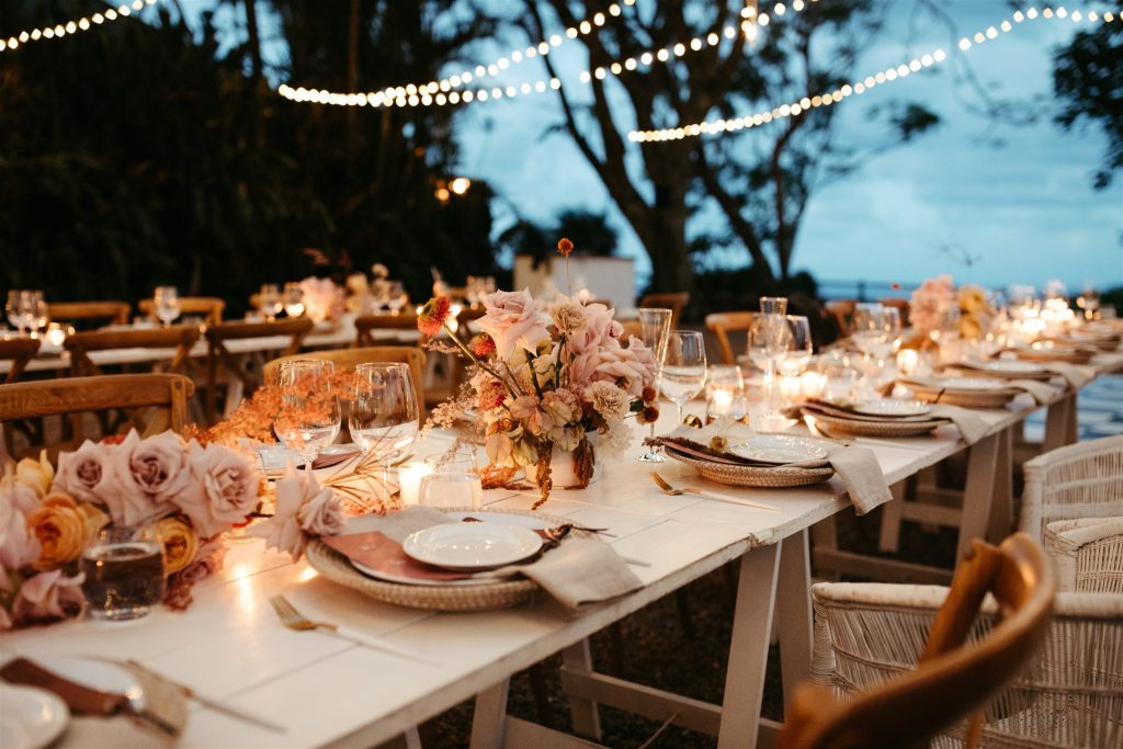 Candle lit reception with flowers / Byron Bay